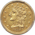 Classic Quarter Eagles, 1839 $2 1/2 AU53 PCGS. Breen-6148, Variety 21, R.3....