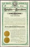 Miscellaneous:Other, Knights of the Maccabees of the World Policy $500 1907;. Mutual Beneficial Insurance Association of Bucks County Policy $1... (Total: 4 items)