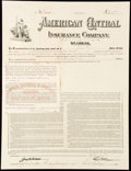 Eight Insurance Items Not Graded. American Central Insurance Company Policy $300 1912; Emporium Fire Insurance Compa...
