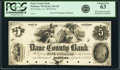 Obsoletes By State:Wisconsin, Madison, WI- Dane County Bank $5 Sep. 15, 1854 G8 Krause G8 Proof PCGS Choice New 63.. ...
