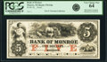 Obsoletes By State:Wisconsin, Monroe, WI- Bank of Monroe $5 18__ G8a Krause G8a Proof PCGS Very Choice New 64.. ...