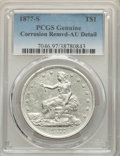 Trade Dollars, 1877-S T$1 -- Corrosion Removed -- PCGS Genuine. AU Details. Mintage 9,519,000....