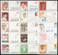 Autographs:Post Cards, Baseball Greats & Hall of Famers First Day Cover Lot of 124 (122 Signed)...
