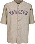 Baseball Collectibles:Balls, 1927-28 Waite Hoyt Game Worn & Signed New York Yankees Jersey, MEARS A9....
