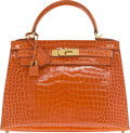 "Luxury Accessories:Bags, Hermès 28cm Orange Porosus Crocodile Sellier Kelly Bag with Gold Hardware. I Square, 2005. Condition: 3. 11"" Width..."