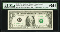 Mismatched Serial Numbers Error Fr. 1910-A $1 1977A Federal Reserve Note. PMG Choice Uncirculated 64 EPQ