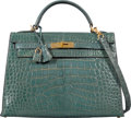 Luxury Accessories:Bags, Hermès 32cm Shiny Blue Jean Alligator Sellier Kelly Bag with Gold Hardware. D Square, 2000. Condition: 4. 12.5 Wid...