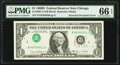 Inverted Third Printing Error Fr. 1907-G $1 1969D Federal Reserve Note. PMG Gem Uncirculated 66 EPQ