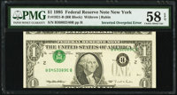 Inverted Third Printing Error Fr. 1921-B $1 1995 Federal Reserve Note. PMG Choice About Unc 58 EPQ