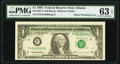 Partial Back to Face Offset Error Fr. 1921-F $1 1995 Federal Reserve Note. PMG Choice Uncirculated 63 EPQ