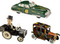 Antiques:Toys, Charlie McCarthy, Old Jalopy Tin Windup Cars & Battery Operated Dick Tracy Toys.... (Total: 3 Items)