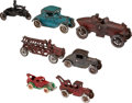 Antiques:Toys, Group Lot of 7 Cast Iron Transportation Toys.... (Total: 7 Items)