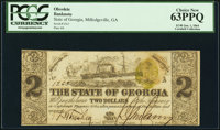Milledgeville, GA- State of Georgia $2 Jan. 1, 1864 Cr. 29 PCGS Choice New 63PPQ