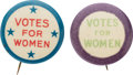 Political:Pinback Buttons (1896-present), Woman's Suffrage: Uncommon Votes For Women Buttons.... (Total: 2 Items)