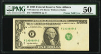 Printed Fold Error Fr. ?-F $1 1995 Federal Reserve Note. PMG About Uncirculated 50