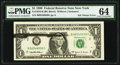 Error Notes:Ink Smears, Black Ink Smear on Face Error Fr. 1924-B $1 1999 Federal Reserve Note. PMG Choice Uncirculated 64.. ...