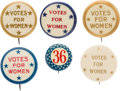 """Political:Pinback Buttons (1896-present), Woman's Suffrage: Group of """"Star"""" Buttons...."""