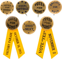 Woman's Suffrage: Group of Seven Gold Background Slogan Buttons