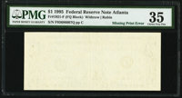 Missing Back Printing Error Fr. 1921-F $1 1995 Federal Reserve Note. PMG Choice Very Fine 35