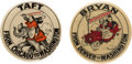 Political:Pinback Buttons (1896-present), William Howard Taft and William Jennings Bryan: Clever Cartoon Pins.... (Total: 2 Items)