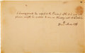 Political:Small Paper (pre-1896), James Madison: Dinner Invitation To Governor Of Indiana. ...