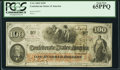 Confederate Notes:1862 Issues, T41 $100 1862 PF-25 Cr. 318A PCGS Gem New 65PPQ.. ...
