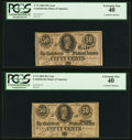 Confederate Notes:1864 Issues, T72 50 Cents 1864 PF-1 Cr. 578 Two Consecutive Examples PCGS Extremely Fine 40.. ... (Total: 2 notes)