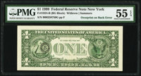 Third Printing on Back Error Fr. 1924-B $1 1999 Federal Reserve Note. PMG About Uncirculated 55 EPQ