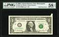 Error Notes:Foldovers, Foldover Error Fr. 1933-I $1 2006 Federal Reserve Note. PMG Choice About Unc 58 EPQ.. ...