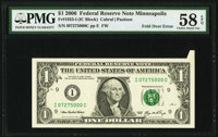 Foldover Error Fr. 1933-I $1 2006 Federal Reserve Note. PMG Choice About Unc 58 EPQ