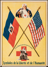 """The Red Cross, the Mother of All Nations (The Red Cross, c.1916). Fine/Very Fine. French Language Poster (10.5"""" X 1..."""