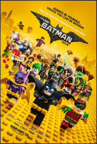 "The Lego Batman Movie (Warner Bros., 2017). Rolled, Near Mint. One Sheet (27"" X 40"") DS, Advance. Animation..."