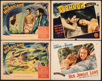 """The Hurricane & Other Lot (United Artists, 1937). Fine/Very Fine. Lobby Cards (4) (11"""" X 14""""). Adventure..."""