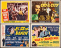 "Movie Posters:Film Noir, Kiss of Death & Other Lot (20th Century Fox, R-1953). Fine/Very Fine. Title Lobby Cards (3) & Lobby Card (11"" X 14""). Film N... (Total: 4 Items)"