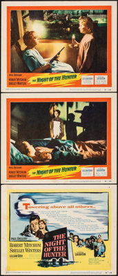 """The Night of the Hunter (United Artists, 1955). Fine/Very Fine. Title Lobby Card & Lobby Cards (2) (11"""" X 14&qu..."""