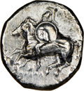 Ancients: CALABRIA. Tarentum. Ca. 281-240 BC. AR stater or didrachm (19mm, 6.32 gm, 9h). NGC Choice VF 4/5 - 2/5, scratc...