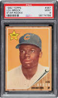 Baseball Cards:Singles (1960-1969), 1962 Topps Lou Brock (Star Rookie) #387 PSA Mint 9 - Only Two Higher. ...