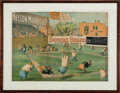 Baseball Collectibles:Others, Circa 1890 Nelson Morris & Co. Pigs Playing Baseball Lithograph and Trade Card....