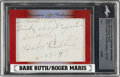 Baseball Cards:Autographs, 2017 Leaf Executive Collection Masterpiece Babe Ruth & Roger Maris Signed Cut Signature Card....