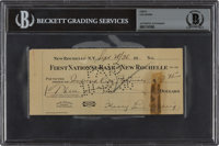 1936 Lou Gehrig Twice-Signed Personal Check, BGS Authentic