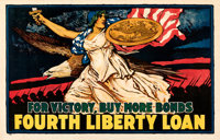 "World War I Propaganda (U.S. Government Printing Office, 1918). Fine- on Linen. Fourth Liberty Loan Poster (36"" X 5..."
