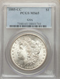 1885-CC $1 GSA MS65 PCGS. PCGS Population: (4524/1386). NGC Census: (1801/782). CDN: $780 Whsle. Bid for NGC/PCGS MS65...