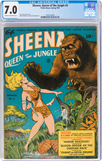 Sheena, Queen of the Jungle #3 (Fiction House, 1943) CGC FN/VF 7.0 Cream to off-white pages