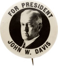 Political:Pinback Buttons (1896-present), John W. Davis: Bold Real Photo Picture Pin....