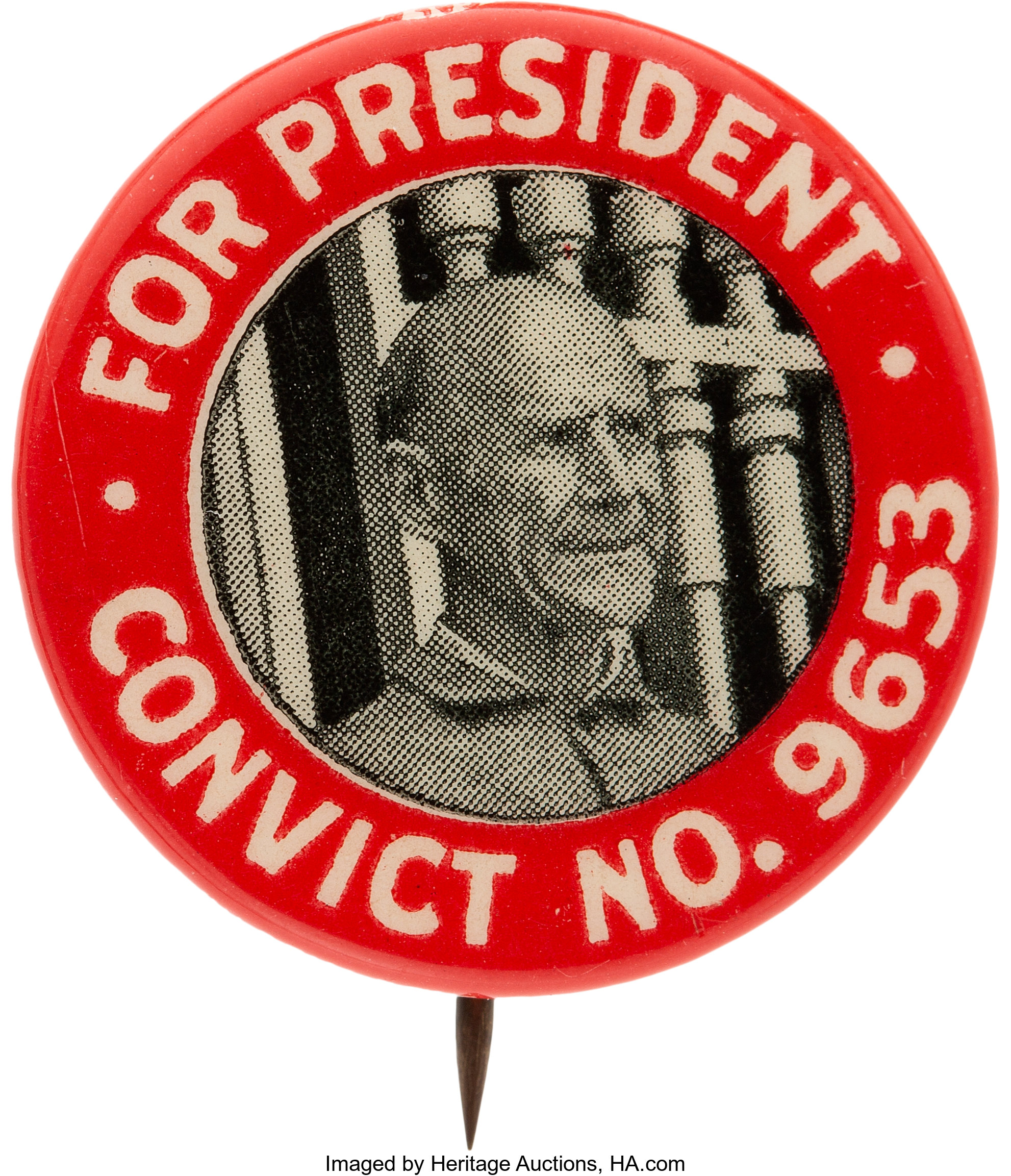 """Eugene V. Debs: Rare """"Small Head"""" Convict Pin.... Political Pinback 