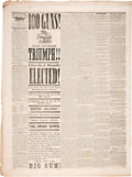 Political:Small Paper (pre-1896), Abraham Lincoln: Morrow Country Sentinel Newspaper Announces Lincoln Victory!...
