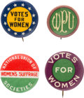 Political:Pinback Buttons (1896-present), Woman's Suffrage: Four Different Colorful Pinbacks....