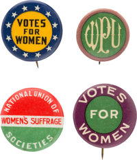 Woman's Suffrage: Four Different Colorful Pinbacks