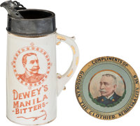 Admiral George Dewey: Outstanding Bitters Pitcher and Advertising Tip Tray.... (Total: 2 Items)