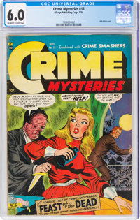 Crime Mysteries #15 (Ribage Publishing, 1954) CGC FN 6.0 Off-white to white pages